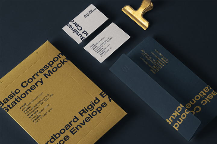 Business card and envelope mockup free download
