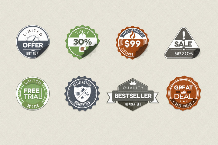 Retro Stickers Badges Thumbnail Free Download